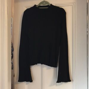 Bell Sleeve Black Top